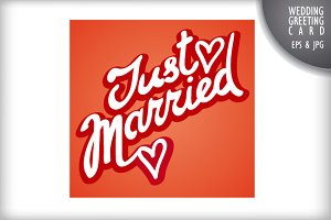 Just Married Lettering and Greeting
