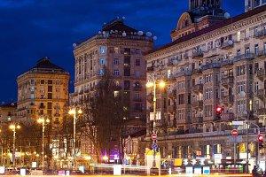Kreschatik street at night, Kyiv