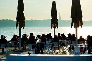 Seafront restaurant at sunset