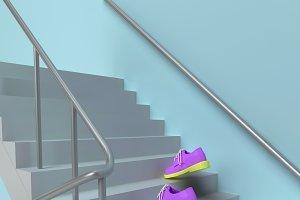 Pink shoes climb conceptual image