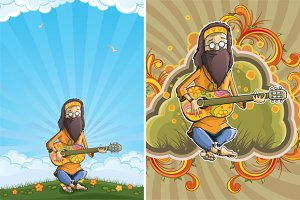 Hippie with guitar