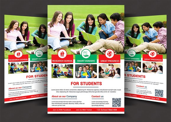 High School Flyer Templates Flyer Templates Creative Market - High school brochure template