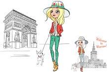Set hipster girl tourist