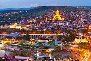 Tbilisi at dusk, Georgia