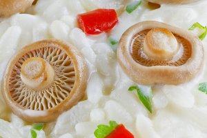 Saffron Milk Cap mushroom rice background