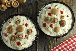 Saffron Milk Cap mushroom rice with white wine sauce
