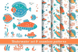 Underwater set & seamless pattern #1