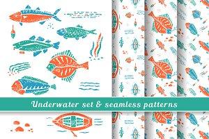 Underwater set & seamless pattern #2