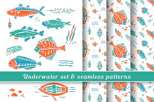 Underwater set & seamless pattern #2