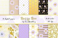 Honey bee digital paper pack. 12x12