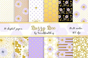 Honey bee digital paper pack. 12x12