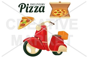 Delivering pizza on moped