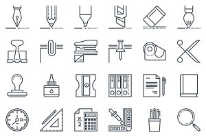 36 office tools icon set