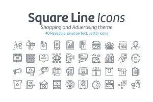 Shopping and advertising icon set