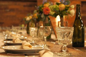 Rustic Head Table Settings