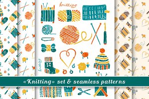 Knitting set in Lino cut style