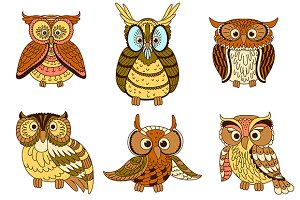 Cartoon owls, owlets and eagle owl