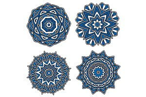 Blue circular floral patterns