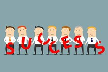 Business team composing word Success