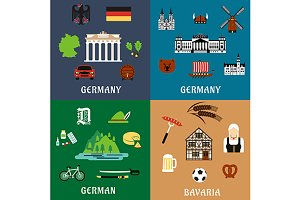 Germany travel, culture flat icons
