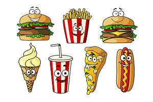 Joyful cartoon fast food
