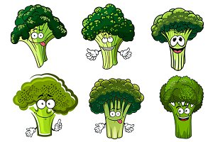 Cartoon farm broccoli vegetables