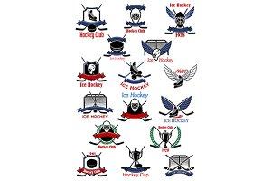 Ice hockey sport icons and symbols