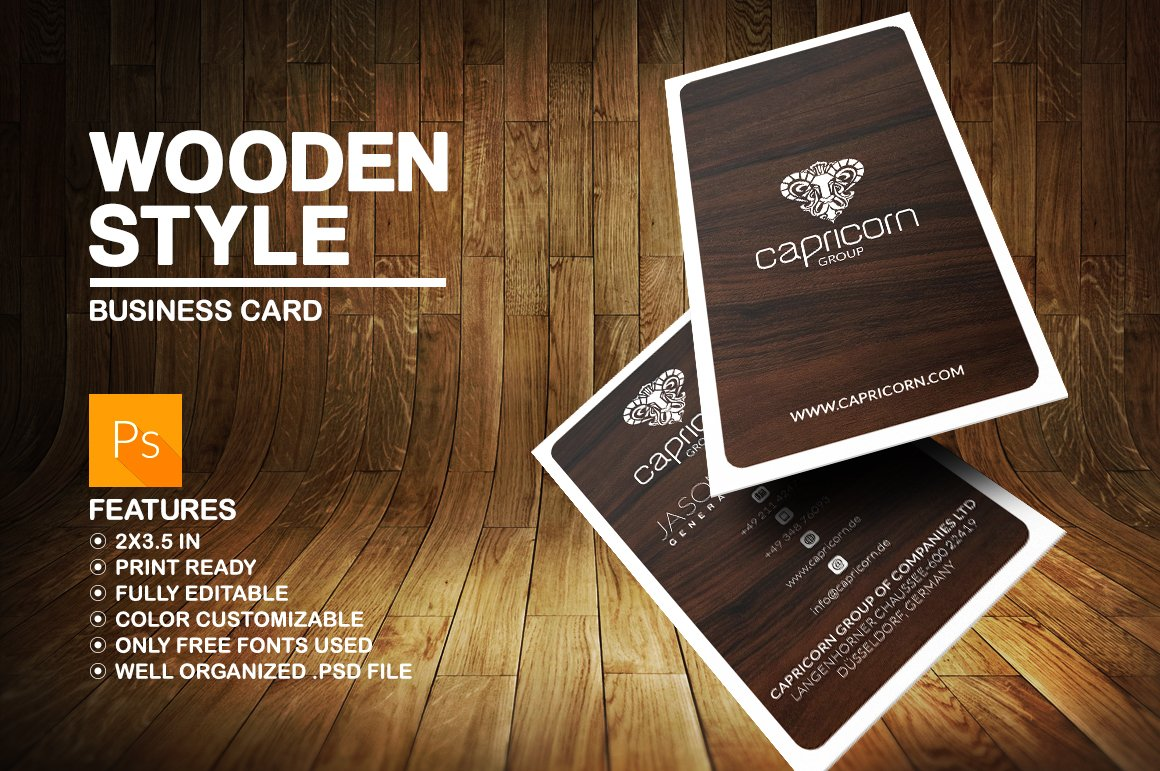 Wooden business card business card templates creative market reheart Choice Image