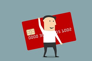 Businessman with big red credit card