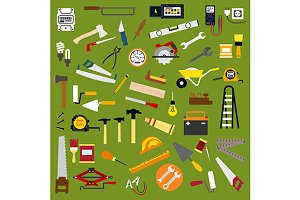 Tools and equipment flat icons