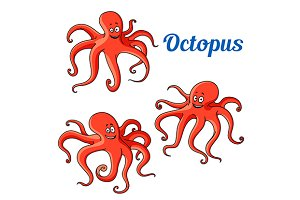 Cartoon red octopuses