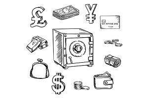 Money, currency and finance sketch