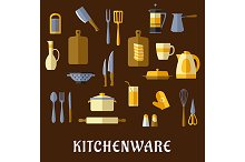 Kitchenware and utensil flat icons