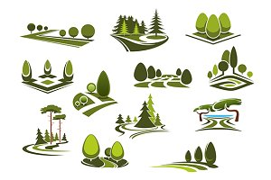 Forest park garden landscape icons