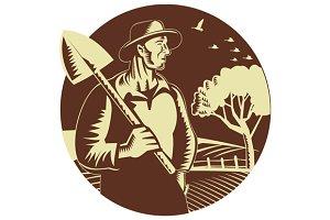 Organic Farmer Holding Shovel Farm