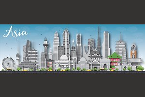Asia skyline with landmarks