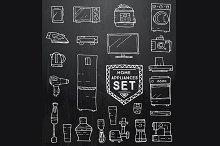 Home appliances doodle set