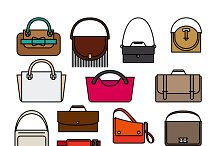 Bags and handbags vector icons