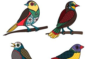 Hand drawn ornamental birds