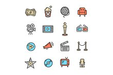 Cinema Colorful Outline Icon Set.