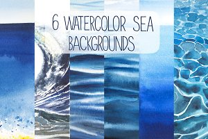6 watercolor SEA backgrounds