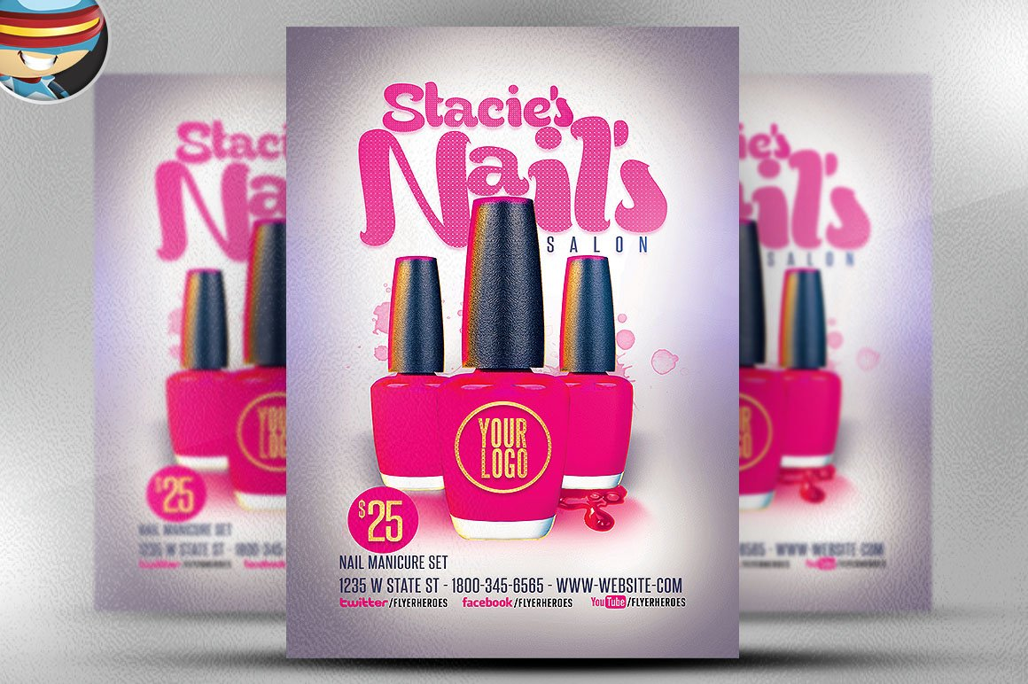 Nail Bar Flyer Template Flyer Templates on Creative Market – Bar Flyer Template