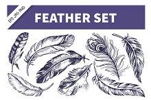 Feather Hand Drawn Sketch Set