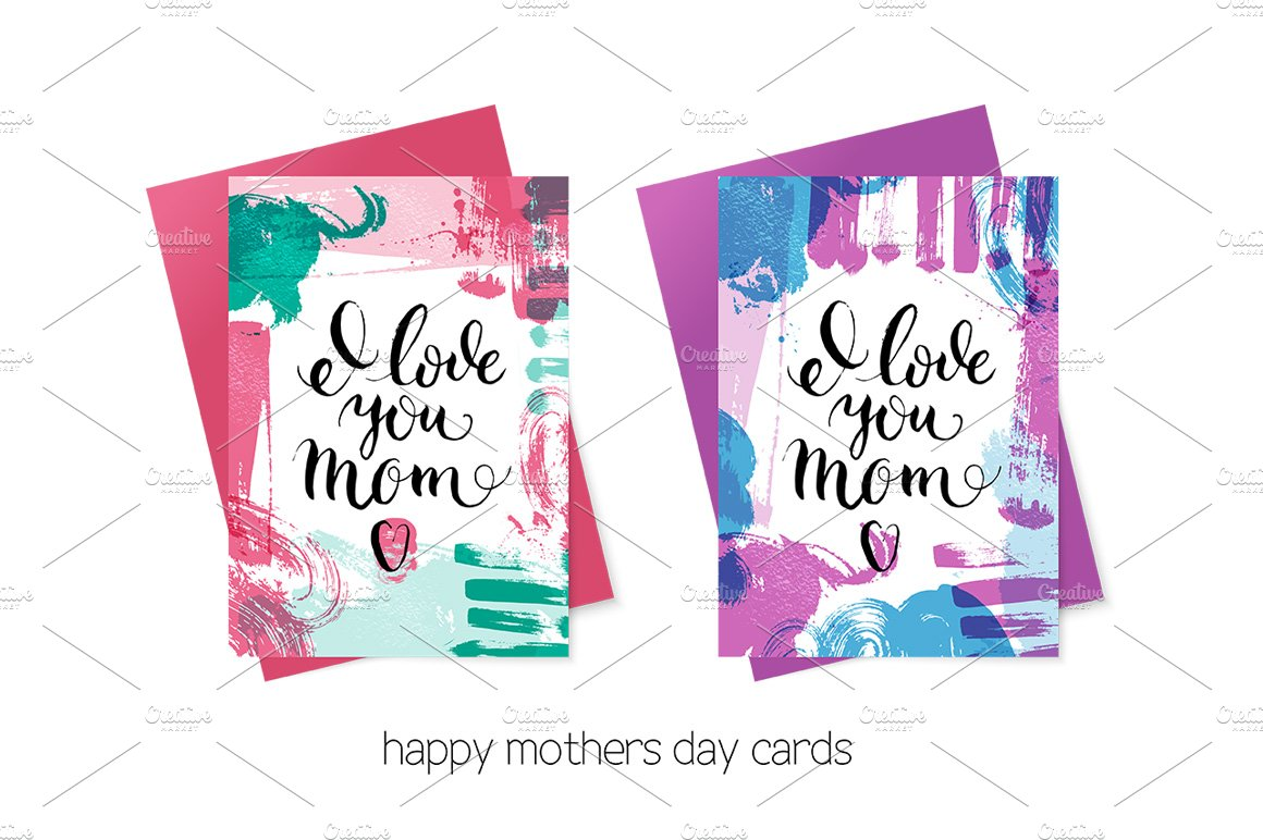 Happy mothers day cards vector set card templates creative market m4hsunfo