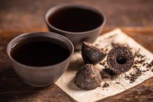 Cups of black tea