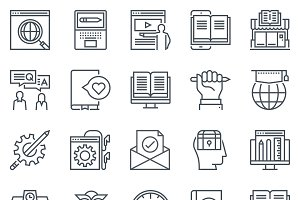 Education icon set - 35 icons
