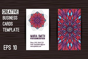 Business card template with ornament
