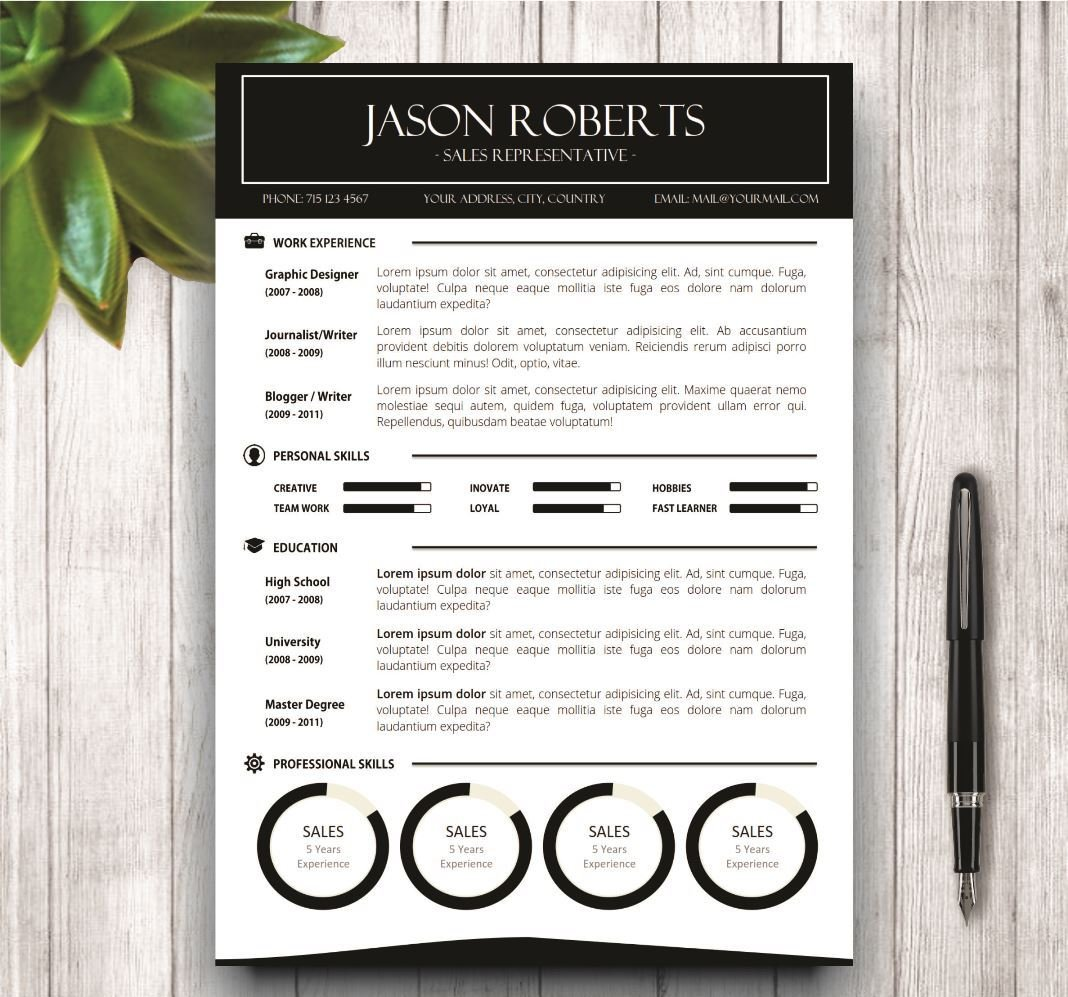 Black And White Resume Template Resume Templates Creative Market