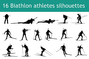 16 biathlon athletes silhouettes