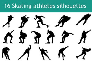 16 Skating athletes silhouette